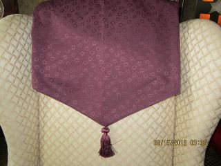 Lined Ascot Valance w Tassel French Country Daisies w Dots Purple Wine