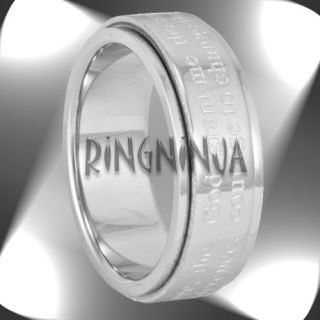 7MM Serenity Prayer Spinner Ring Stainless Steel Mens or Womens Size 6