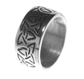 Alpaca Silver Ring R4 Triquetra Symbolising Threefold Nature Of