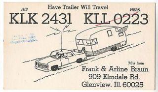 QSL CB Radio Card Illinois IL Glenview Trailer Camper Camping Frank
