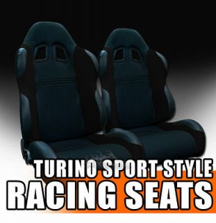 Fit Blk Fabric & PVC Leather Sport Racing Bucket Seats+Sliders Ford