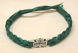 IRISH CELTIC SHAMROCK LEATHER FRIENDSHIP BRACELET WRIST BAND LADY