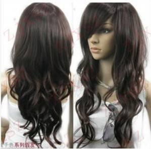 Vogue brown curl womens wig like real hair +wig cap 18