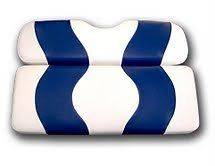 Golf Cart Two Tone Front Seat Cover White & Blue for EZ GO TXT