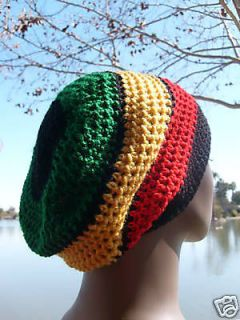 Black green yellow red Jamaican Tam reggae Hat Slouchy rasta Crochet
