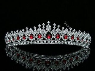 Apple Red Bridal Wedding Veil Crystal Crown Tiara 5561
