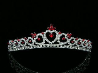 Bridal Red Rhinestone Crystal Heart Wedding Prom Princess Tiara Crown