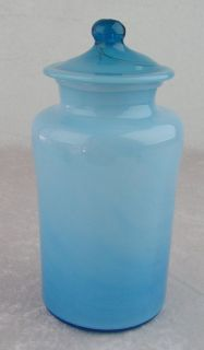 Milky Aqua Turquoise Blue Blown Glass Apothecary Jar Canister W/Lid