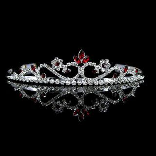 Bridal Red Rhinestone Crystal Prom Wedding Tiara Headband 8369