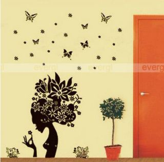 Flower Fairy Girl Removable PVC Wall Sticker Home Decor Decal