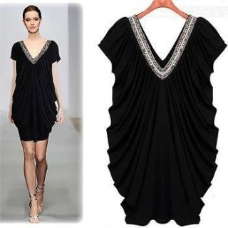 Sexy Womens Elegant Ruched Fitted Shiny V neckline Drape Front Dress