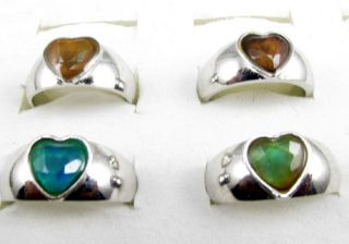 Hot Sale ringsWholesal​e 10 Pcs Color Changable heart Mood Rings
