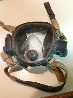 Lung full face Rebreather Mask Brass Double Hose Regulator VINTAGE