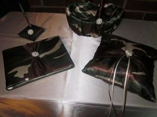Camo Wedding Set   Ring Pillow, Flower Basket, Guest Book, & Pen Set