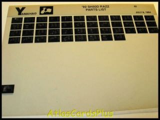 Yamaha 1992 SH50 SH50D Razz Riva Scooter Parts Manual
