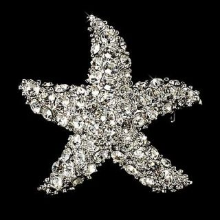 Starfish CZ Crystal Beach Bridal Brooch or Hair Comb Cake Brooch