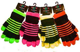 New Ladies Gloves 2 in 1 Neon Magic Gloves With Stripe Ladies Magic