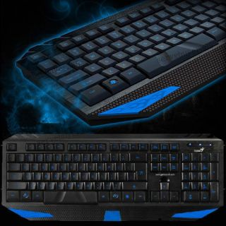 Blue LED Illuminated Backlight Backlit Light Up USB Pro Gaming