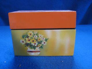 OHIO ART,RECIPE BOX INDEX CARD HOLDER.ORANGE TOP,YELLOW SIDES,FLOWERS