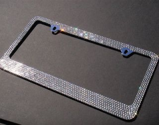 Row Light Black (C Type) Diamond Rhinestone License Plate Frame+Caps
