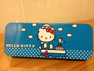 Sanrio Hello Kitty Pencil Case BLUE Tin Metal Box for Girls New