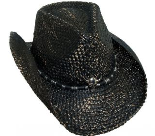 BLACK WESTERN COWBOY HAT SKULL CONCHO ROCK STAR HALLOWEEN COSTUME
