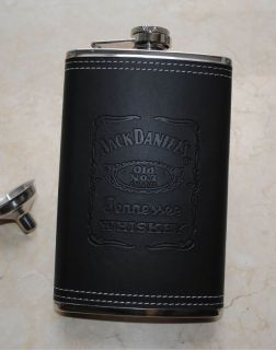 10oz Stainless Steel Hip Flask Black Faux Leather Wrapped Free Funnel