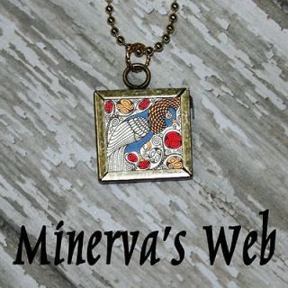 William Morris BIRD 1 Art Glass Charm Pendant Necklace by Minervas Web