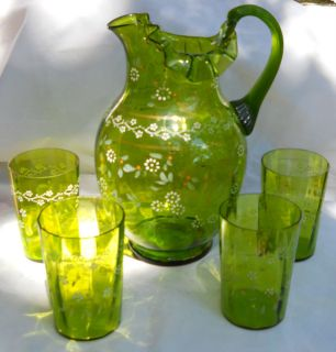 ANTIQUE ENAMEL LEMONADE PITCHER WATER BEVERAGE GREEN GLASSES 6 FENTON