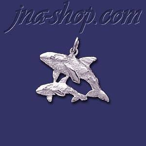 Sterling Silver Orcas Killer Whales Mother/Calf Animal Charm Pen