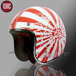 OPEN FACE RETRO VINTAGE MOTORCYCLE SCOOTER HELMET RED WHITE JAPANESE