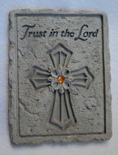 THE LORD Cross plaque sign wall decor inspirational faith faux stone