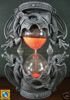 DUAL DRAGON SANDTIMER RED SAND KEEPERS OF TIME STATUE 16 MINUTES