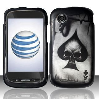 Straight Talk ZTE Merit 990G Spade Skull Skin Snap on Hard Case Phone