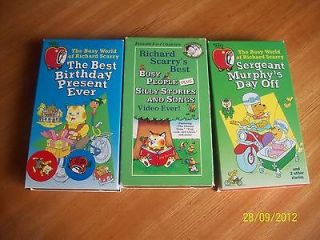 LOT 2 RICHARD SCARRYS VHS MOVIE TAPES BUSY PEOPLE & SILLY STORIES AND