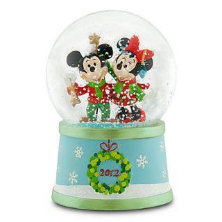 DISNEY MICKEY & MINNIE MOUSE Christmas Snowglobe 2012 New In Box