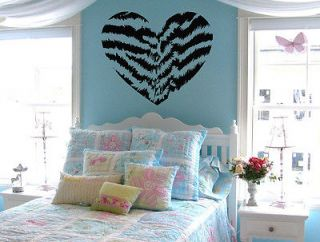 Tiger Stripe Heart Vinyl Wall Decal Sticker Tiger Print