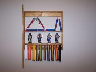 Karate Belt &Trophy Display Handmade Solid Wood Wall Mount Martial
