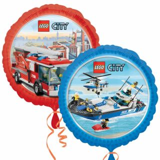 18 Lego City Toys Birthday Party Fire Engine Police Boat Round Foil