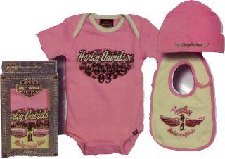 Harley Davidson Baby Girl Infant Pink Glitter 3 Piece Gift Set Size