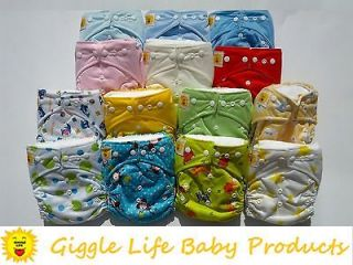 Giggle Life Ultra Soft Cloth Diapers & 2x Inserts One Size 8 33lbs
