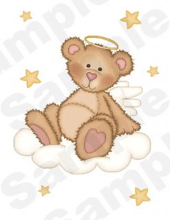 ANGEL TEDDY BEARS BABY GIRL NURSERY WALL ART STICKERS DECALS CLOUDS