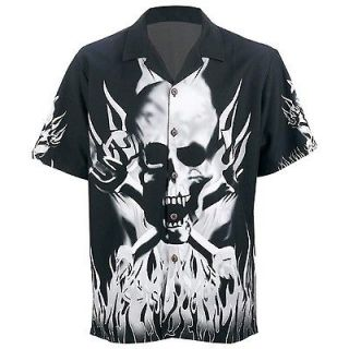 Casual Outfitters Polyester Black Shirt Grey Skull Flames M 2X