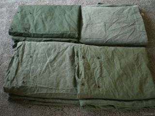 10 USED US ARMY SHELER EN HALF arp Poncho Canvas Pup Miliary