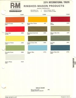 1974 INTERNATIONAL TRUCK PAINT CHIPS SHEET (R M)
