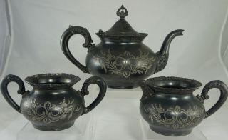 Victorian Quadruple Silver Plate Tea/Coffee Set Van Bergh ROCHESTER NY