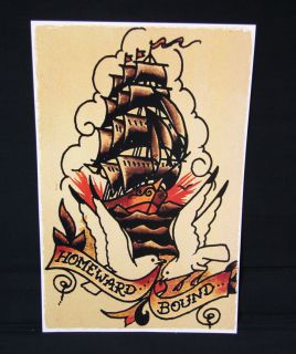 Homeward Bound Ship Vessel Sailor Jerry Traditional style tattoo