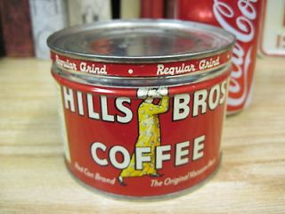 VINTAGE 1/2 lb HILLS BROS COFFEE TIN CAN COLLECTABLE COUNTRY STORE JMJ