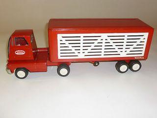 1960s Tonka Livestock Cattle Semi Truck & Trailer Pressed Steel Near
