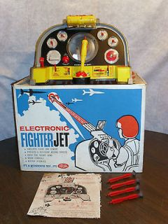 Battery Op Electronic Fighter Jet Toy by Ideal 1959 Complete w/ Box